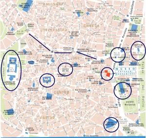 Mapa turistíco, marcado Europviajes