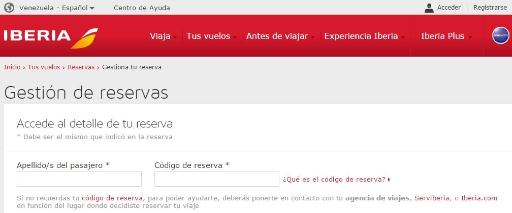 Iberia Gestión reservas