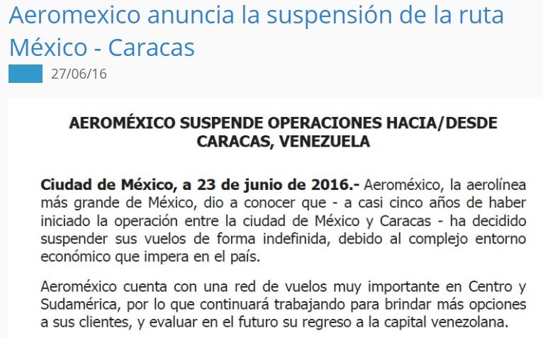 AEROMEXICO SUSPENDE RUTA MEXICO CARACAS
